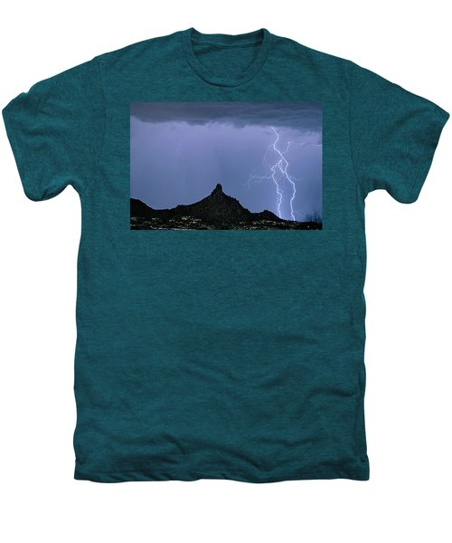 Men's Premium T-Shirt featuring the photograph Lightning Bolts And Pinnacle Peak North Scottsdale Arizona by James BO Insogna