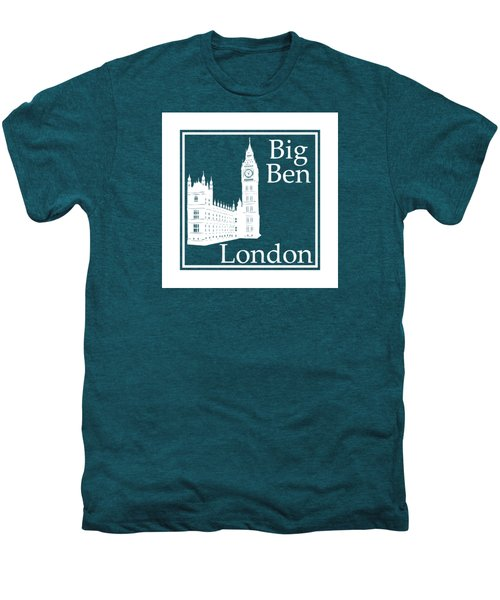 London's Big Ben In White - Inverse  Men's Premium T-Shirt by Custom Home Fashions