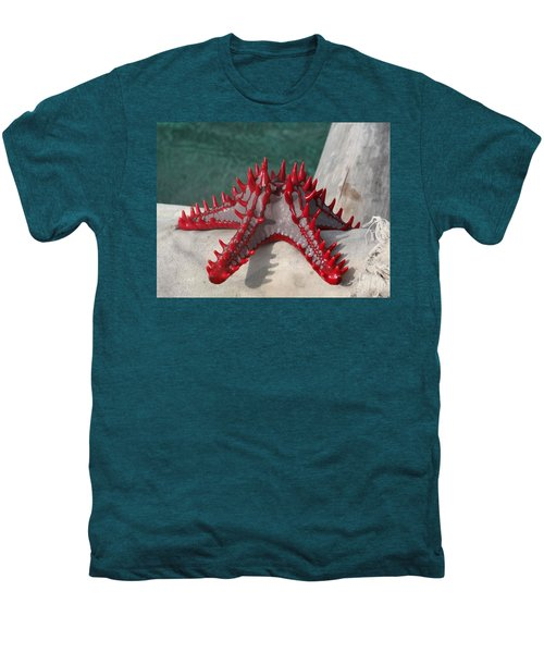 Lone Red Starfish On A Wooden Dhow 3 Men's Premium T-Shirt