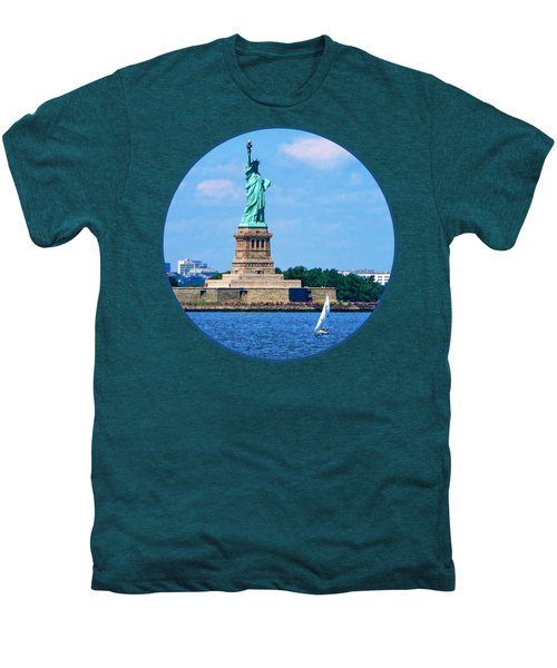 Manhattan - Sailboat By Statue Of Liberty Men's Premium T-Shirt by Susan Savad