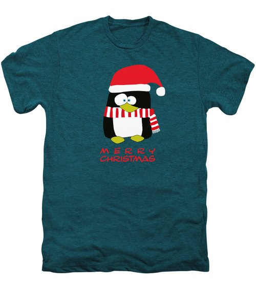 Merry Christmas Penguin Men's Premium T-Shirt by Priscilla Wolfe