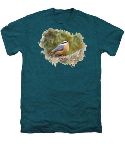 Nuthatch Watercolor Art Men's Premium T-Shirt