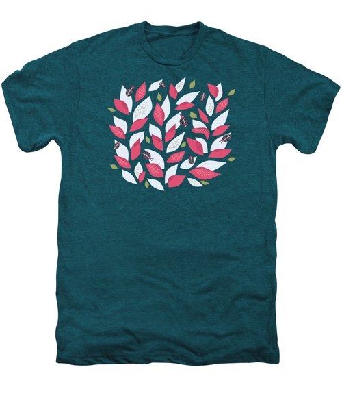 Pretty Plant With White Pink Leaves And Ladybugs Men's Premium T-Shirt