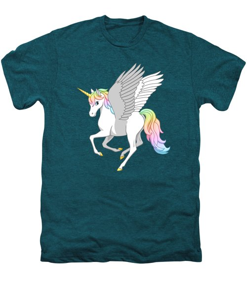 Pretty Rainbow Unicorn Flying Horse Men's Premium T-Shirt