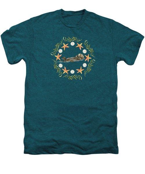 Sea Otter Mandala Men's Premium T-Shirt by Cindy Skidgel