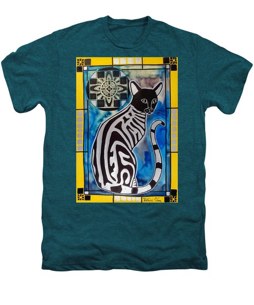 Silver Tabby With Mandala - Cat Art By Dora Hathazi Mendes Men's Premium T-Shirt