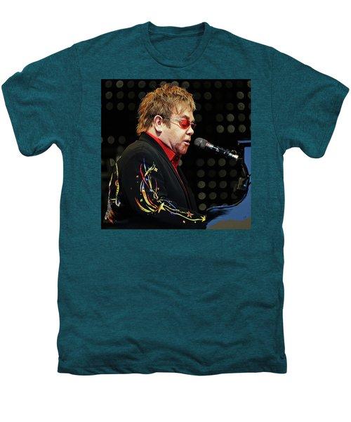 Sir Elton John At The Piano Men's Premium T-Shirt by Elaine Plesser