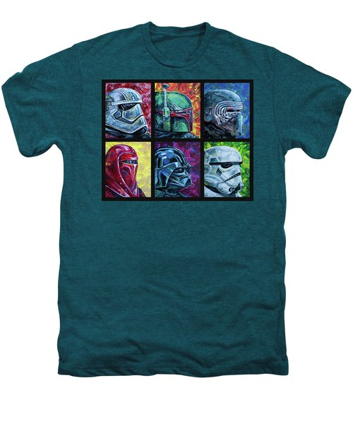 Men's Premium T-Shirt featuring the painting Star Wars Helmet Series - Collage by Aaron Spong