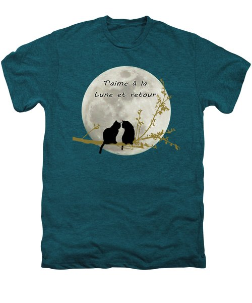 Men's Premium T-Shirt featuring the digital art T'aime A La Lune Et Retour by Linda Lees