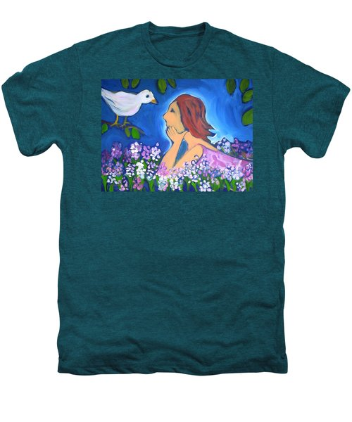 Men's Premium T-Shirt featuring the painting The Bird by Winsome Gunning