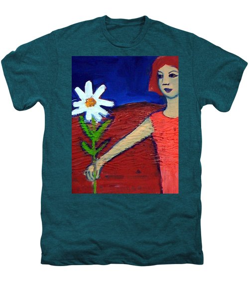 Men's Premium T-Shirt featuring the painting The White Flower by Winsome Gunning