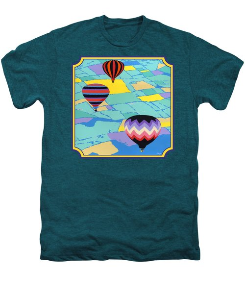 Three Hot Air Balloons Arial Absract Landscape - Square Format Men's Premium T-Shirt