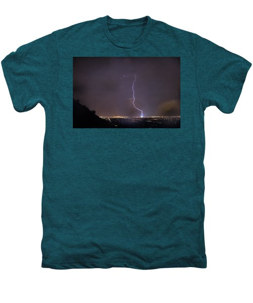Men's Premium T-Shirt featuring the photograph It's A Hit Transformer Lightning Strike by James BO Insogna