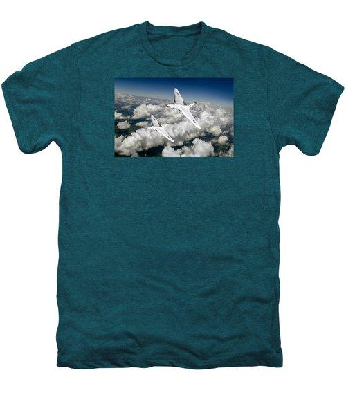 Men's Premium T-Shirt featuring the photograph Two Avro Vulcan B1 Nuclear Bombers by Gary Eason