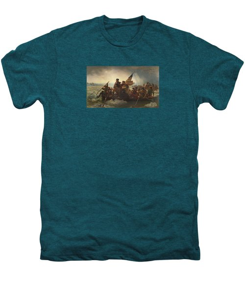 Washington Crossing The Delaware Painting  Men's Premium T-Shirt by Emanuel Gottlieb Leutze