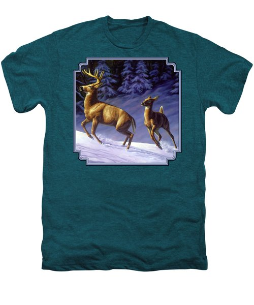 Whitetail Deer Painting - Startled Men's Premium T-Shirt by Crista Forest