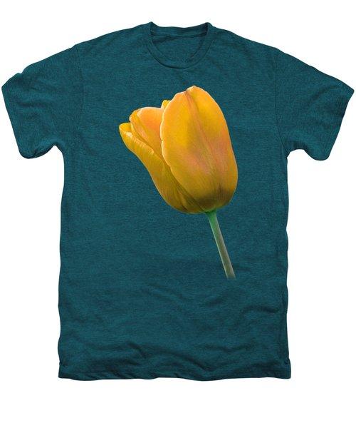 Yellow Tulip On Black Men's Premium T-Shirt by Gill Billington