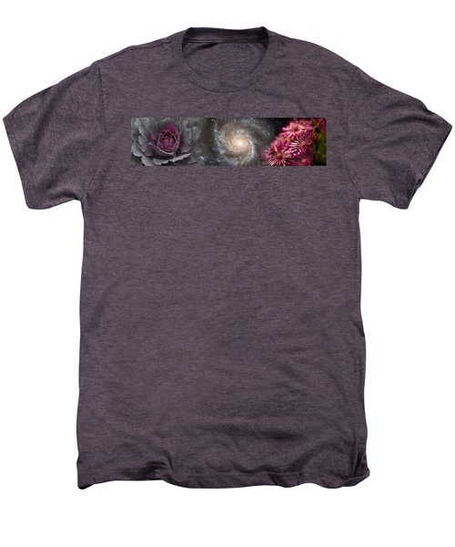 Cabbage With Galaxy And Pink Flowers Men's Premium T-Shirt by Panoramic Images