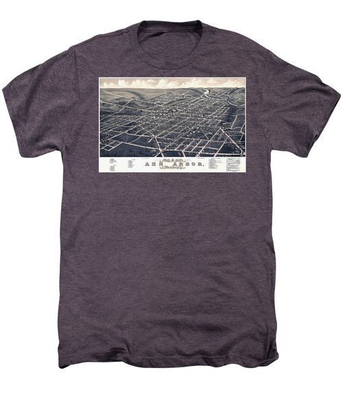 1880 Birds Eye Map Of Ann Arbor Men's Premium T-Shirt by Stephen Stookey