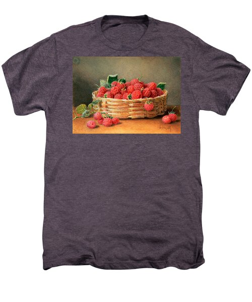 A Still Life Of Raspberries In A Wicker Basket  Men's Premium T-Shirt by William B Hough