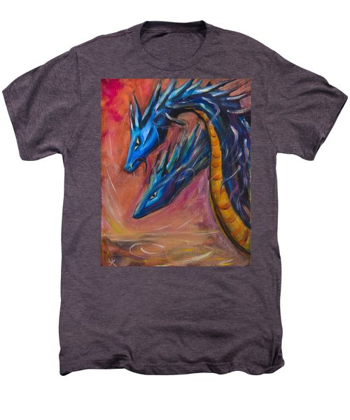 Men's Premium T-Shirt featuring the painting Blue Dragons by Yulia Kazansky