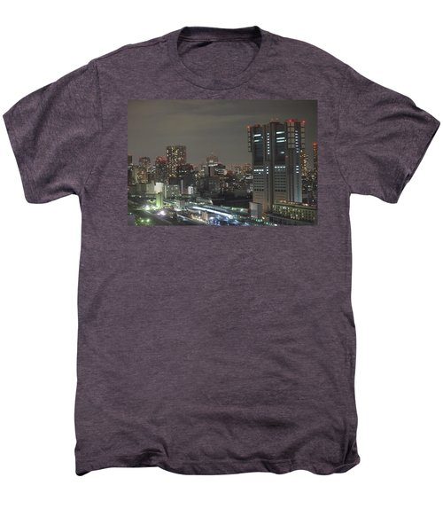Docomo Tower Over Shinagawa Station And Tokyo Skyline At Night Men's Premium T-Shirt by Jeff at JSJ Photography