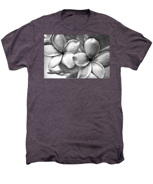 Frangipani In Black And White Men's Premium T-Shirt by Peggy Hughes