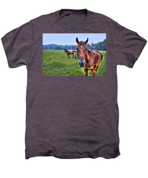 Men's Premium T-Shirt featuring the photograph Horses In A Field by Jonny D