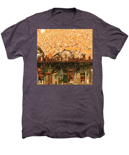 London Skyline Abstract 7 Men's Premium T-Shirt by Bekim Art