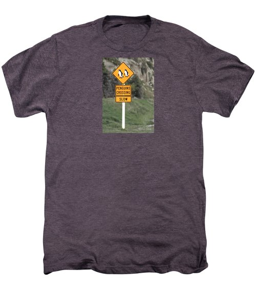 Men's Premium T-Shirt featuring the photograph Penguins Crossing Oamaru by Nareeta Martin