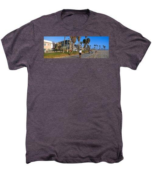 People Riding Bicycles Near A Beach Men's Premium T-Shirt