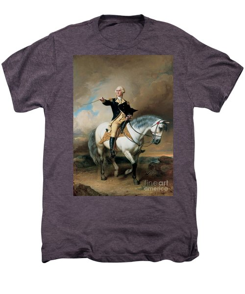 Portrait Of George Washington Taking The Salute At Trenton Men's Premium T-Shirt by John Faed