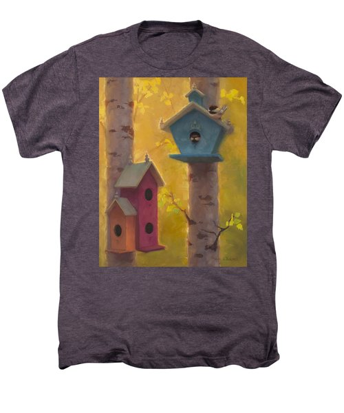 Spring Chickadees 2 - Birdhouse And Birch Forest Men's Premium T-Shirt