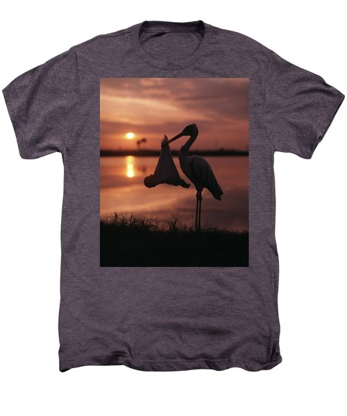 Sunrise Silhouette Of Stork Carrying Men's Premium T-Shirt