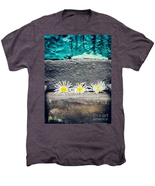 Men's Premium T-Shirt featuring the photograph Three Daisies Stuck In A Door by Silvia Ganora