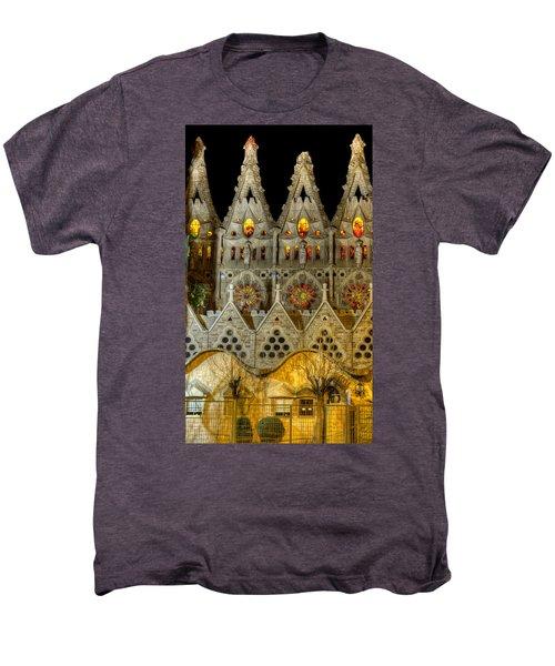 Three Tiers - Sagrada Familia At Night - Gaudi Men's Premium T-Shirt