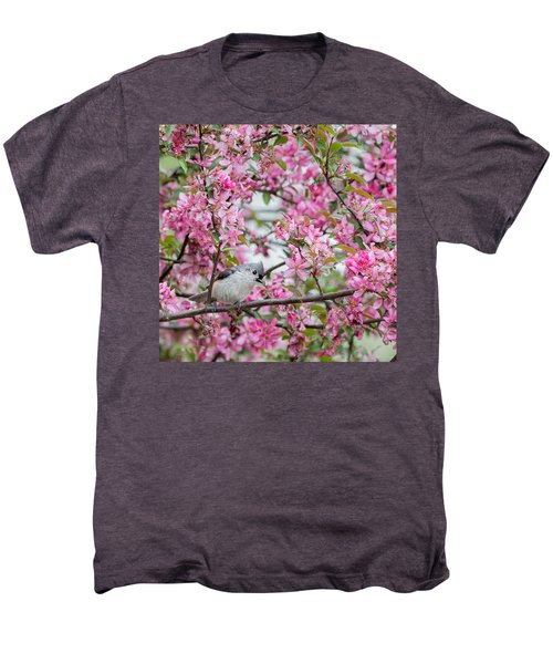 Tufted Titmouse In A Pear Tree Square Men's Premium T-Shirt by Bill Wakeley