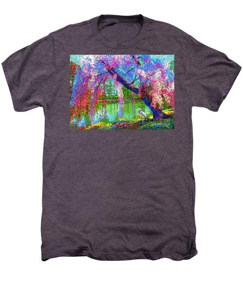 Weeping Beauty, Cherry Blossom Tree And Heron Men's Premium T-Shirt