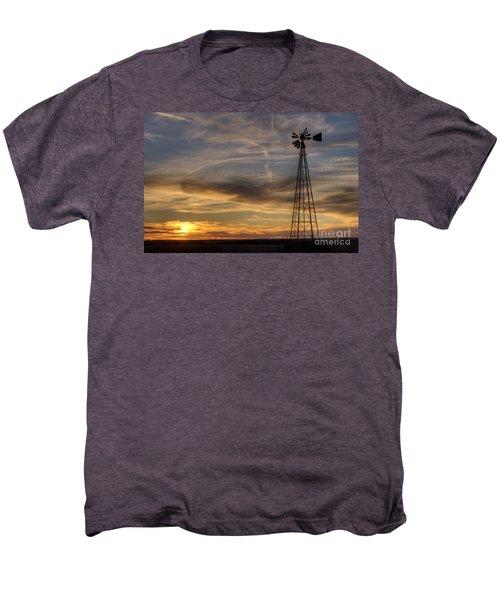 Windmill And Sunset Men's Premium T-Shirt