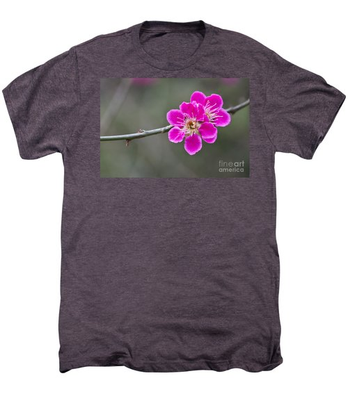 Men's Premium T-Shirt featuring the photograph Japanese Flowering Apricot. by Clare Bambers