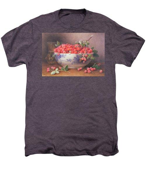 Still Life Of Raspberries In A Blue And White Bowl Men's Premium T-Shirt