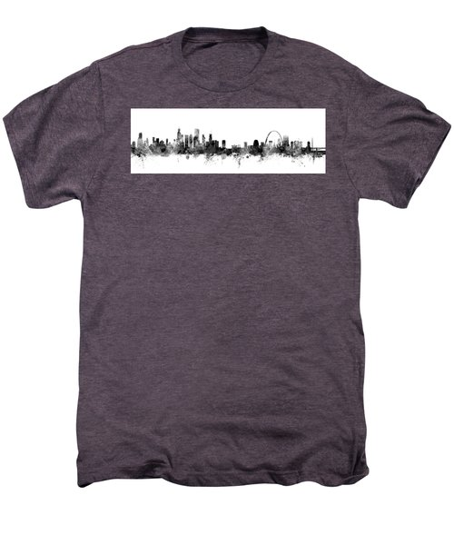 Chicago And St Louis Skyline Mashup Men's Premium T-Shirt by Michael Tompsett
