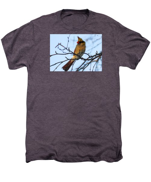 Men's Premium T-Shirt featuring the photograph Female Northern Cardinal by Ricky L Jones