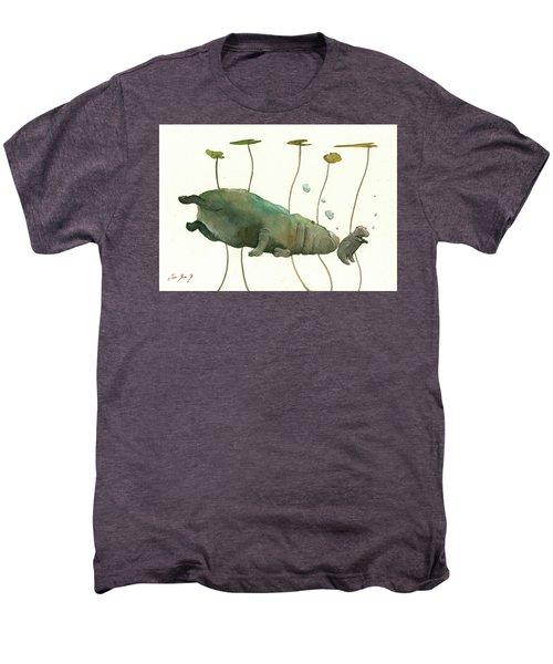Hippo Mom With Baby Men's Premium T-Shirt