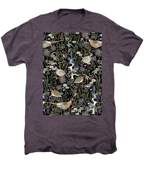 Woodland Edge Birds Men's Premium T-Shirt by Jacqueline Colley