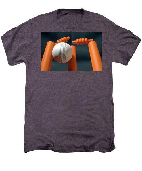 Cricket Ball Hitting Wickets Men's Premium T-Shirt