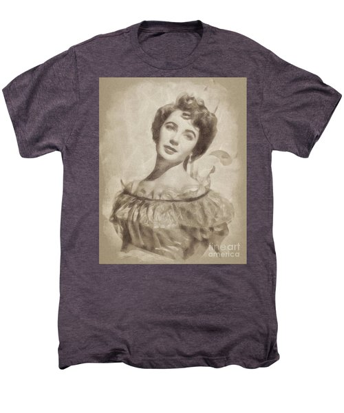 Elizabeth Taylor, Vintage Hollywood Legend By John Springfield Men's Premium T-Shirt