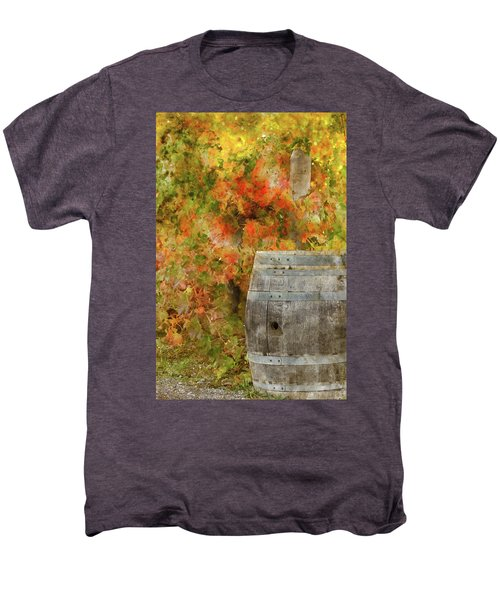 Wine Barrel In Autumn Men's Premium T-Shirt