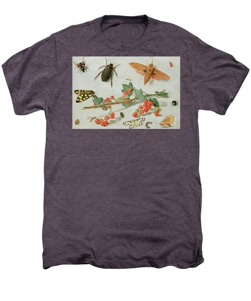 A Sprig Of Redcurrants With An Elephant Hawk Moth, A Magpie Moth And Other Insects, 1657 Men's Premium T-Shirt