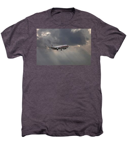 American Aircraft Landing After The Rain. Miami. Fl. Usa Men's Premium T-Shirt